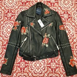 NEW AE Floral Embroidered Moto Jacket Faux Leather